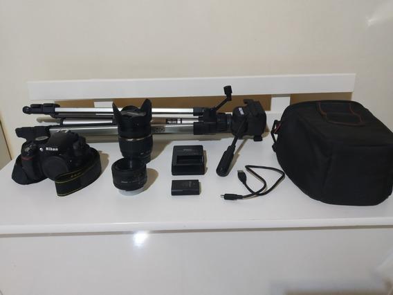 Câmera Nikon D3100+ Lentes 50mm E 18-200mm+ Acessórios+tripé