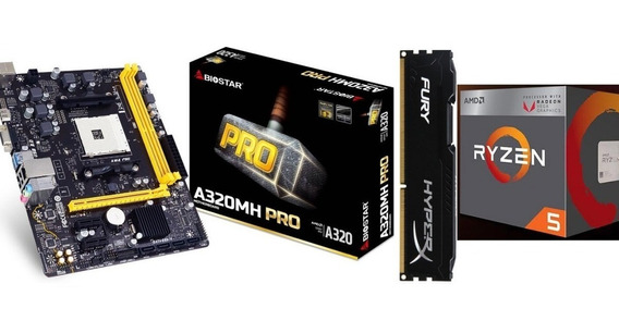 Kit Gamer Biostar A320mh Pro + Ryzen 5 2400g + Fury 8gb Ddr4