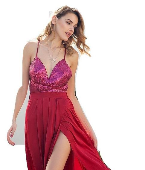 Vestido Mujer Elegante Fiesta Grado Casual Lentejuelas Largo