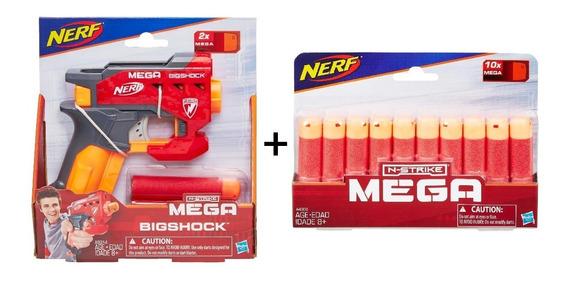 Lança Dardo Nerf Mega Big Shock + Refil 10 Dardos