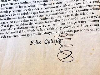 Documento Antiguo Colonial Félix Maria Calleja Del Rey