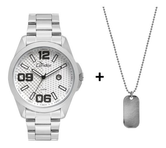 Relógio Condor Masculino Speed Prata + Colar Co2115ksy/k3k