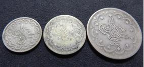 Raro Lote 3 Moedas Prata 830 Turquia Abdul Mejid