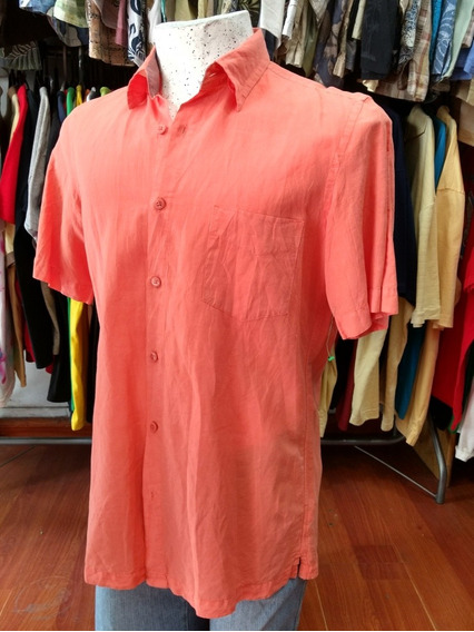 Camisa Hawaiana Color Salmón Talle M -3