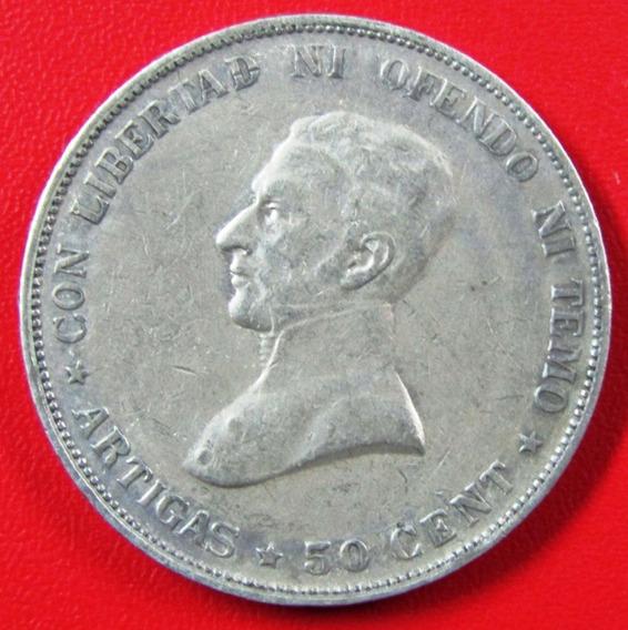 Uruguay Moneda Plata 50 Centesimos 1917 Vf Artigas