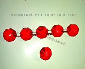 1 Metro D Guirnalda D Cristal Octagon Rojo Con Aro Chico