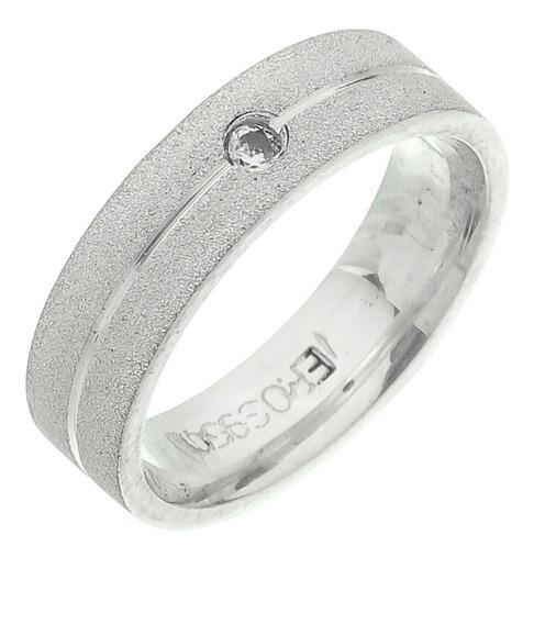 Aliança Prata Diamantada Frisoe Pedra Zirconia 4mm