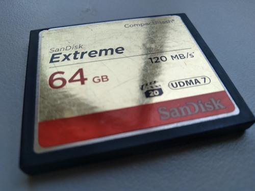 Cartão De Memória Sandisk Compact Flash Extreme 64gb 120 Mbs