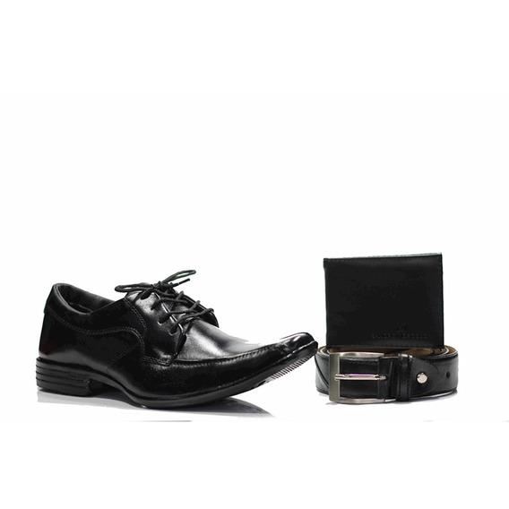 Sapato Social Kutcher Preto+carteira Gr01 Preto+ Cinto 601