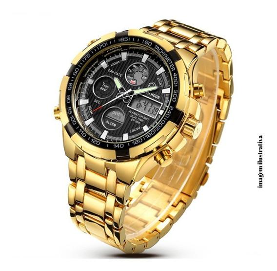 Relógio Golden Hour Dourado Digital Analógico De Luxo Bonito