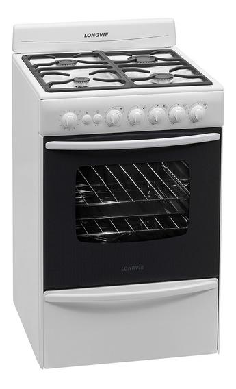Cocina A Gas Longvie 13501bf 56cm Blanca Cajón Parrilla Pce