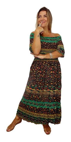 Vestido Longo Indiano Manga Curta Estampado Elástico Corpo