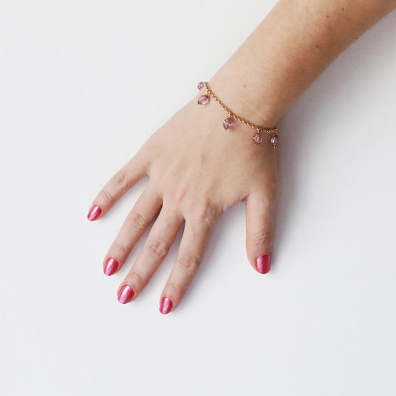 Pulseira Folheada Ouro 18k Berloque Rosa Transparente