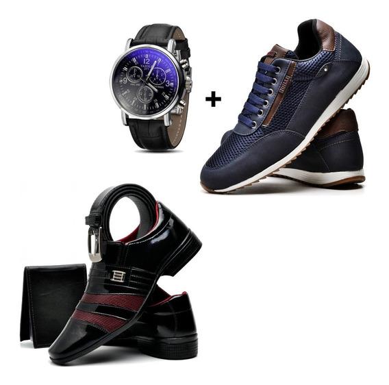 Sapato Vinho + Tênis Azul + Relógio + Cinto + Carteira