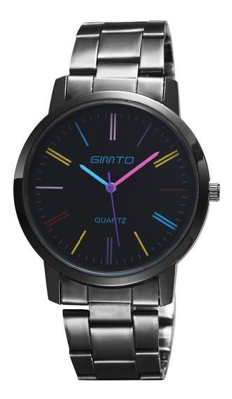 Relógio Feminino De Luxo Pulseira Aço Inoxidável Preto Gimto
