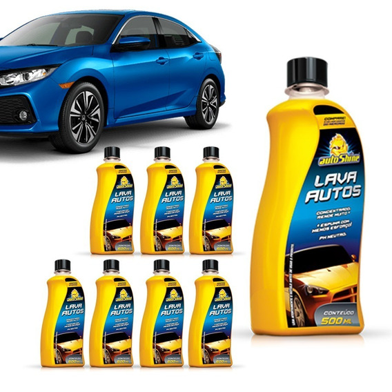Kit 8 Shampoo Automotivo Lava Autos Alto Brilho Limpeza Auto