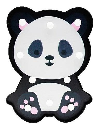 Lampara Oso Panda Led 3d Banco Negro Deco Hogar Bebe Niña