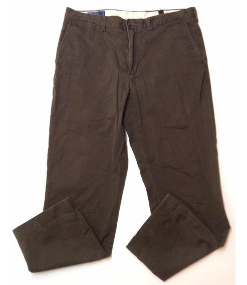 Pantalon Polo Ralph Lauren Gabardina De Vestir Marron 34