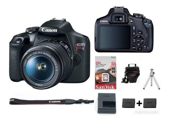 Câmera T7 C/18-55mm+ Bolsa+ 64gb+tripé+1 Bateria Reservac/nf