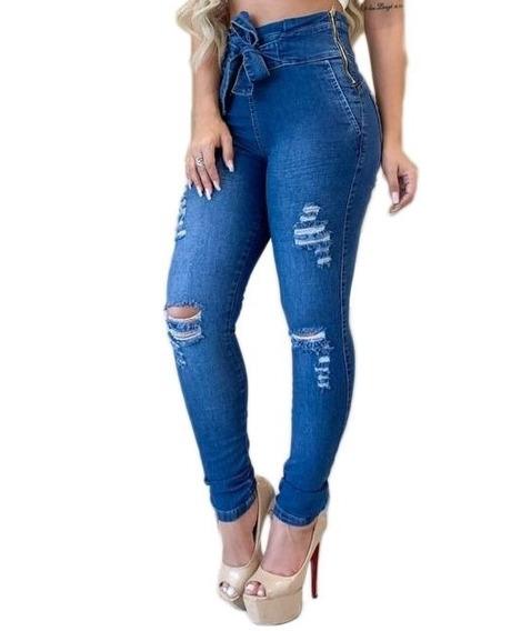 Calça Jeans Com Lycra Pinça Levanta Bumbum Feminina Cós Alto