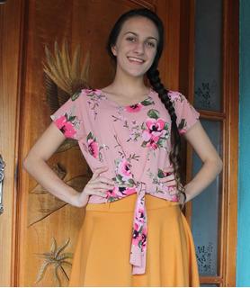 Blusinha Blusa Cropped Crepe Moda Evangelica Amarração Rosas