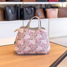 Bolsa Pequena De Mão Em Couro Megan Marfim Floral