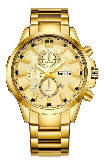 Relógio Masculino Temeite Golden Nyce T-13 Com Frete Grátis