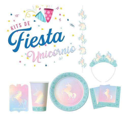 Imagen 1 de 7 de Kit De Fiesta Unicornio Tornasol Colores Pasteles