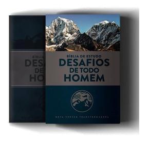 Bíblia De Estudo Desafios De Todo Homem 3ª Edição - Nvt Azul