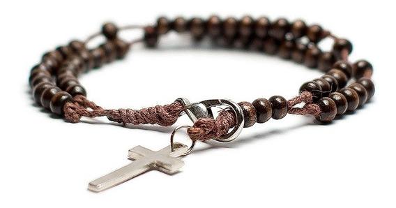 Pulseira Masculina Feminina Crucifixo Terço Pedra Madeira
