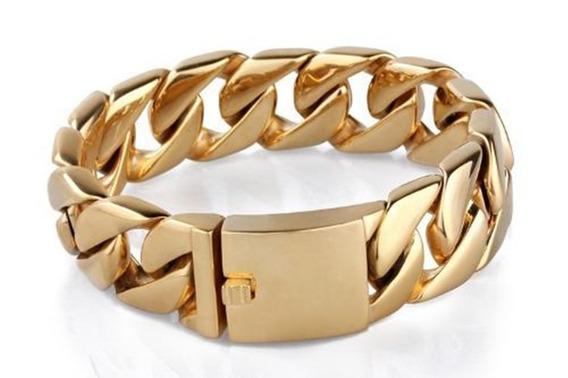 Pulseira Em Aço Cirúrgico Masculina-bracelete Médio Dourada