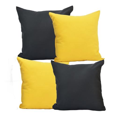 4 Almofadas Decorativas Com Ziper/enchimento/fibra 40x40 Cm