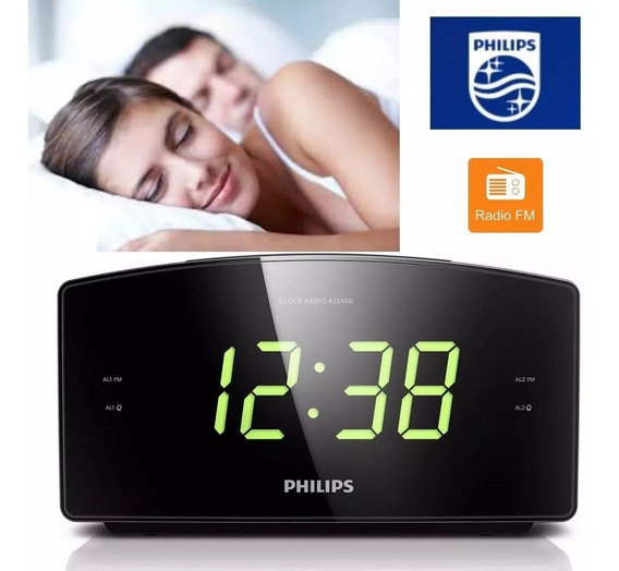 Radio Relogio Philips Fm Digital Aj3400/3 Despertador Alarme + Nota Fiscal + 12 Sem Juros
