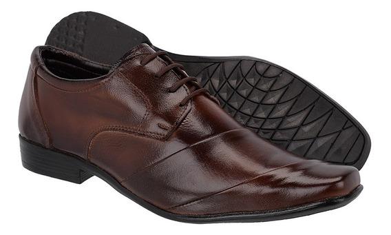 Sapato Social Masculino Cadarço Em Couro Legítimo De Amarrar