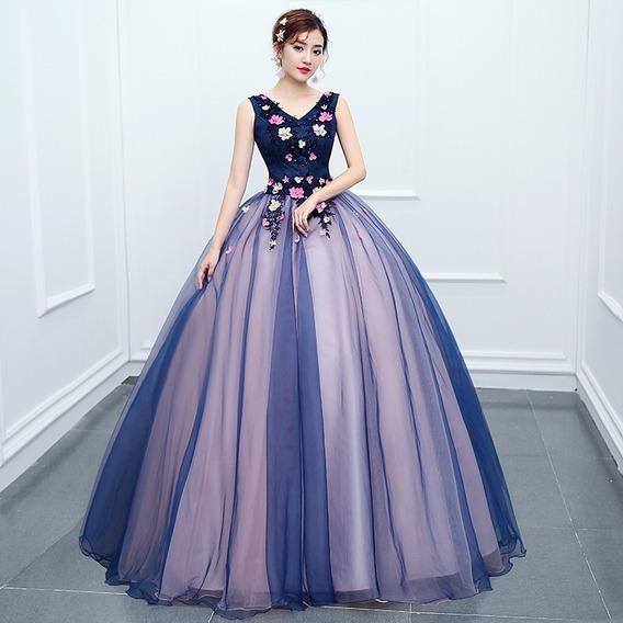 Vestido Quinceañera Princesa Flores Listones Bicolor Xv Años