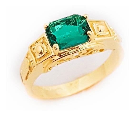 Anel Masculino Verde Esmeralda Formatura Folheado Ouro. A96
