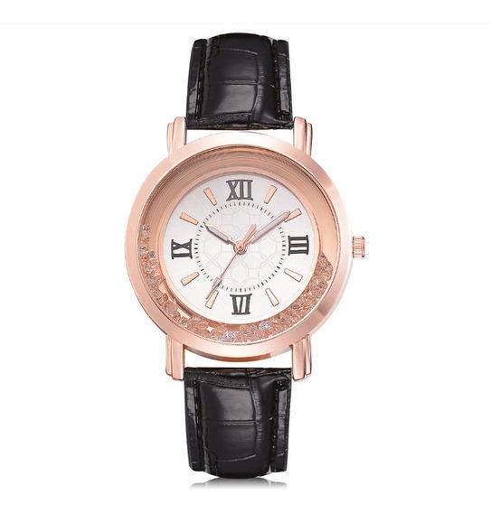 Relógio De Pulso Quartz Feminino De Couro E Pedras Preto