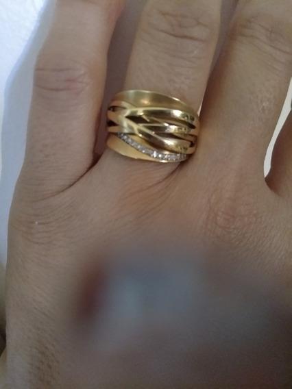 Anel Trabalhado Com Diamantes Ouro Fosco E Polido