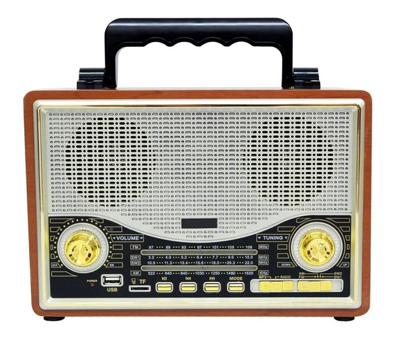 Vintage Rádio Retro Am Fm Sw Bluetoooth Recarr Usb El1706