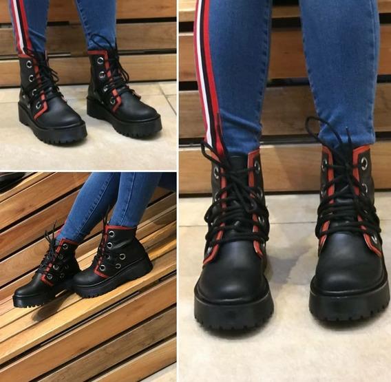 Borcego Botas Botinetas Cuero Negro Combinado Rojo 39
