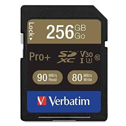 Cartão Sdxc Verbatim 256gb U3 C. 10 90mb/s 4k Para Câmeras