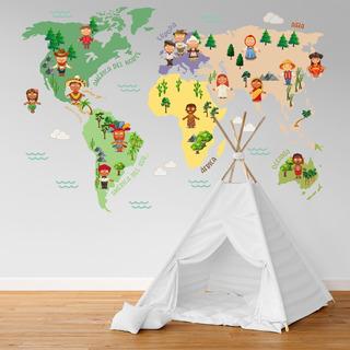 Vinilo Decorativo Infantil Mapa Niños Cultura Mundo