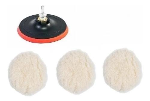 Imagem 1 de 2 de Kit Polimento Adaptador+ Disco 125mm Furadeira C/3 Boinas Lã