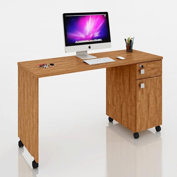 Mesa Escrivaninha Computador Malta 1 Porta 1 Gaveta Amêndoa