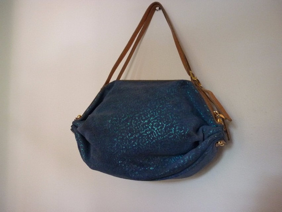 Bolsa Swains Adamascado Em Azul Fashion Alça Couro - Linda !