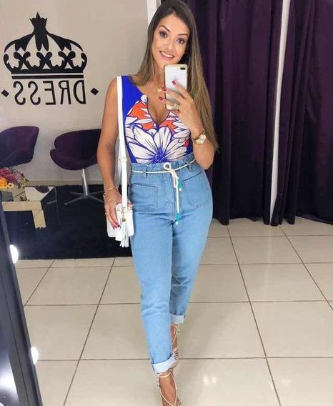 Calça Farm Clochard Jeans Amarrações Cintinho Franzida