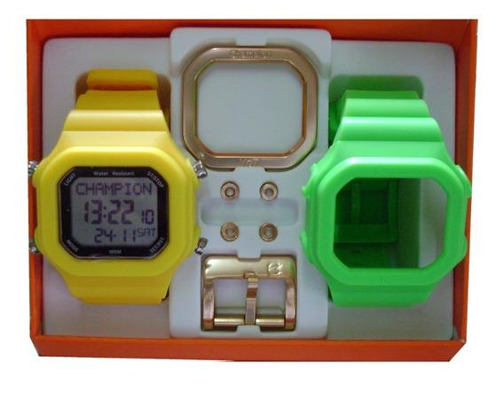 Relógio Champion Yot Original Cp40180x Nf Verde Neon Amarel