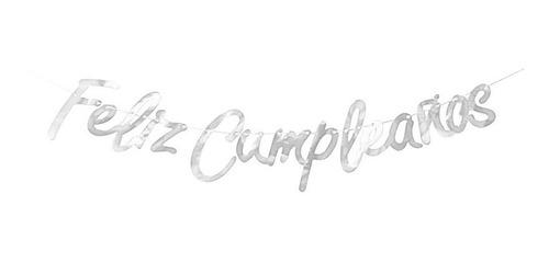 Letrero Feliz Cumpleaños Plata