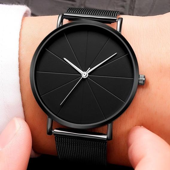 Reloj Hombre Negocio Lujo Minimalista Acero Cuero Elegante