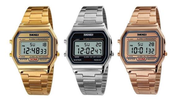 Kit 3 Relógios Feminino Dourado, Prata E Rosê Oringial Skmei